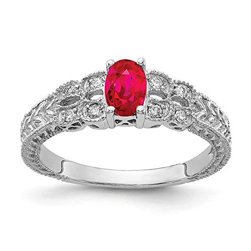 Jewels By Lux 14k White Gold 6x4mm Oval Ruby AA Diamond ring
