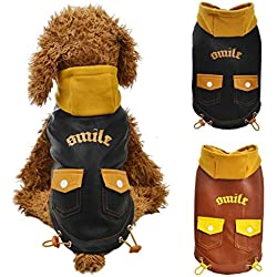 Voberry Small Dog Sweater Pet Puppy Cat Hoodie Winter Warm Sweater Coat Costume Apparel (Brown, L)