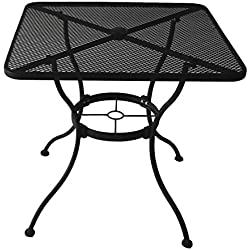 Heavy-Duty Steel Frame with Black Powder-Coated Finish Square Bistro Restaurant Patio Outdoor Dining Table with Umbrella Hole, 30-in x 30-in