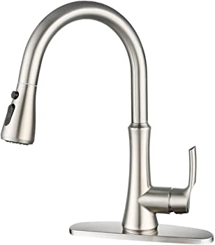 Wowow Pull Down Kitchen Faucet with Deck Plate