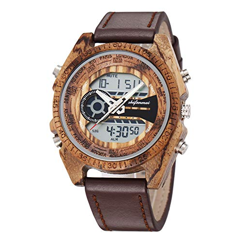 Wood Watches for Men, shifenmei S2139 Japanese Quartz Dual Movement Lightweight Wooden Watches Date Chronograph LED Digital Handmade Wood Watches with Gift Box (Zebra Wood)