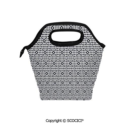 Reusable Insulated Lunch Bags with Pocket Ornamental Motifs Vertical Horizontal Stripes Squares with Oval Corners Decorative for Adults Kids Boys Girls.