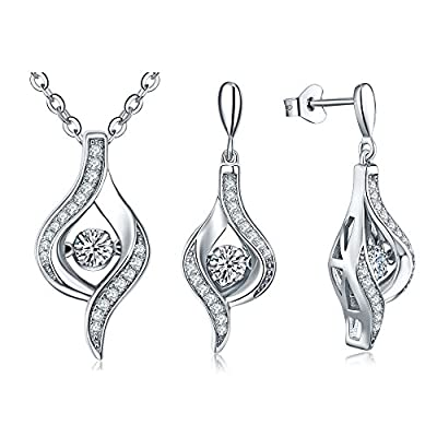 "New YL Sterling Silver Dancing Diamond CZ Pendant Necklace-Fine Jewelry Set for Women with Silver Chain 18+2"" Extender-Mother's Day Gift with Exquisite Package for cheap"