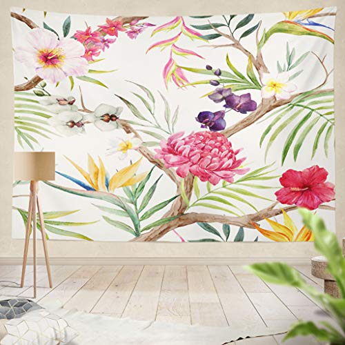 rcolor Exotic Tropical Tree with Plants Flowers Hibiscus Strelitzia and Orchid Palm Leaves Hanging Tapestries 60 x 60 inch Wall Hanging Decor for Bedroom Livingroom Dorm ()
