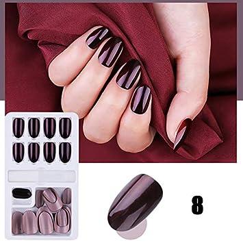 Gelentea 24 uñas postizas, reutilizables, adhesivas, extraíbles ...