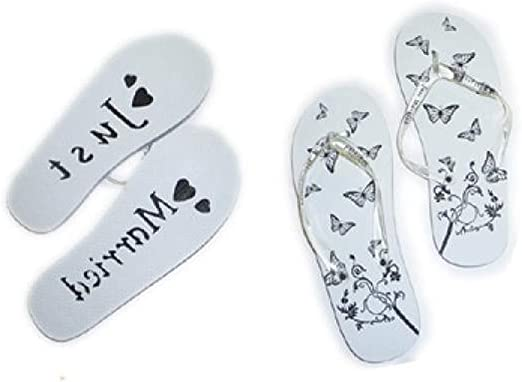 One Pair of Pink /& White Ladies Just Married Flip Flops SIZE SMALL UK 3-4 X43