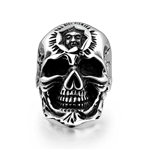 Focus Jewel Punk Gothic Type Strong Character Relief Sculpture Skull Ring Human Face on the Forehead
