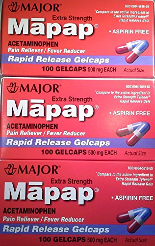 [3 Pack] Mapap® Extra Strength 500mg Rapid Release Gelcaps Acetaminophen Pain Reliever/fever Reducer 100 Ct (Pack of 3) *Compare to the Same Active Ingredients Found in Tylenol® Rapid Release Gelcaps & Save* -  Major Pharmaceuticals