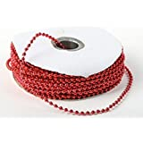 3mm Faux Pearl Plastic Beads on a String Craft Roll Metallic RED by DPC