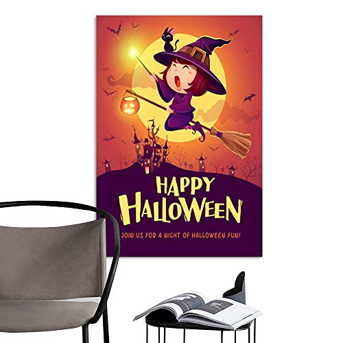 Art Painting Home ModernHappy Halloween Halloween flying little witch Girl kid in Halloween costume holds a magic wand Retro vintage .jpg perfect contemporary art paintings for the wall without a fr