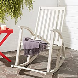 Safavieh Outdoor Collection Clayton White Wash Rocking Chair, White Washed