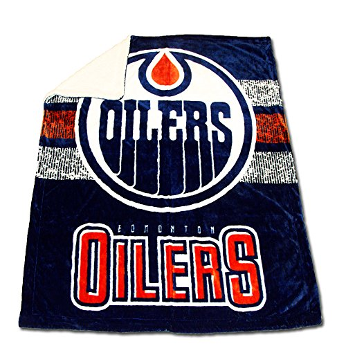 fan products of New NHL Ice Hockey Edmonton Oilers Ultimate Sherpa Plush Throw Blanket Official