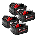 4-Pack 4.0Ah 18V M18 Battery for Milwaukee Lithium Battery Replacement Milwaukee XC 48-11-1840, 48-11-1815, 48-11-1820, 48-11- 1850 Compatible with Milwaukee 18-Volt Cordless Power Tools Batteries