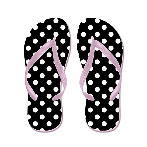 CafePress - Black And White Polka Dot - Flip Flops, Funny Thong Sandals, Beach Sandals (Dot Sandals Pink Polka)