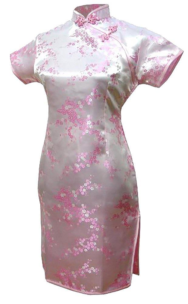 7Fairy Women's Vtg Pink Floral Mini Chinese Evening Dress Cheongsam 1110004
