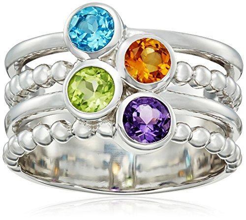Sterling Silver Beaded Multi-Rows Multi-Semi Precious Ring, Size 7