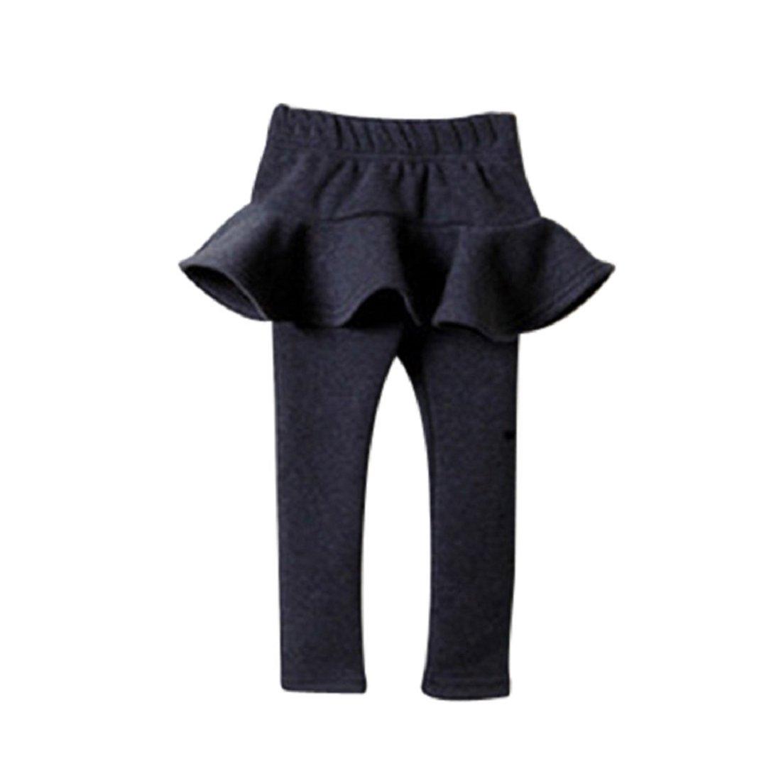 GONKOMA Warm Winter Girls Pants Children Thick Warm Elastic Waist Leggings (2-Years Old, Dark Gray)