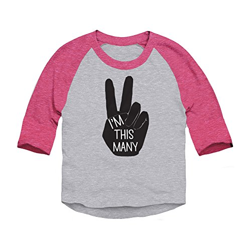 Trunk Candy I'm This Many Toddler Birthday 3/4 Sleeve Raglan Baseball T-Shirt (Heather/Pink, 2T) (Birthday 3/4 Sleeve)