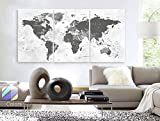 Original by BoxColors Large 30''x 60'' 3 Panels 30x20 Ea Art Canvas Print world Map watercolor push pin gray Wall decor Home interior (Included framed 1.5'' depth)