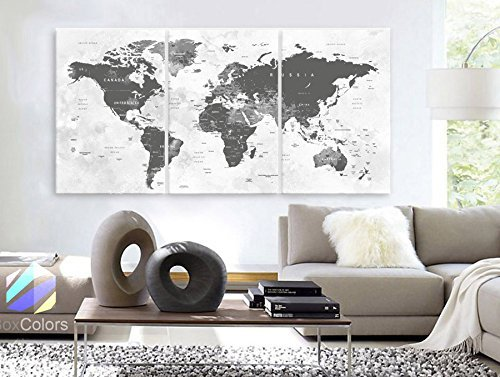 Original by BoxColors Large 30''x 60'' 3 Panels 30x20 Ea Art Canvas Print world Map watercolor push pin gray Wall decor Home interior (Included framed 1.5'' depth) by BoxColors