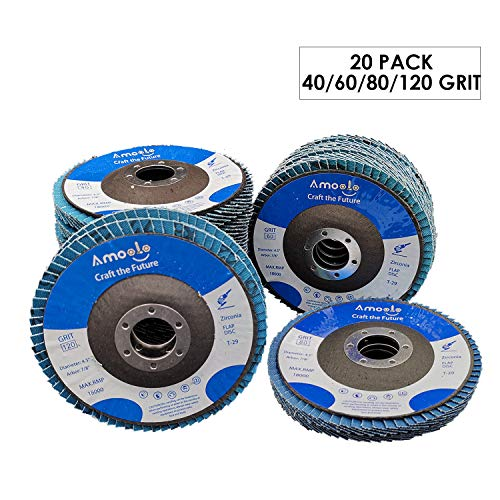 amoolo 4 1/2 Flap Disc (20 Pack), T29 Zirconia Angle Grinder Sanding Disc (40 60 80 120 Grit), Abrasive Grinding Wheel (7/8 inch Arbor Size)