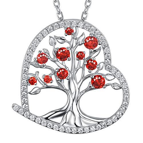 July August Birthstone LC Red Ruby Green Peridot Necklace Tree of Life Sterling Silver Jewelry Birthday Gifts for Women 20 Chain
