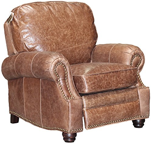 (Barcalounger Longhorn II Leather Recliner Havana Brown Top Grain Leather Chair with Espresso Wood Legs - Standard Ground Curbside Delivery in Lower 48 States Only)