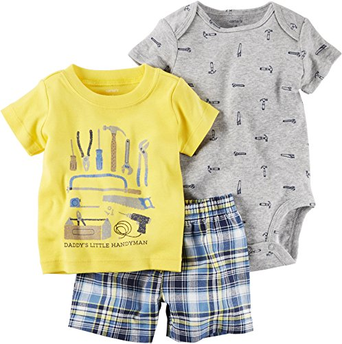 Carter's Baby Boys Diaper Cover Sets 121h170, Yellow, 6M (Boys Diaper Shirt)