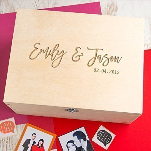 wooden personalised keepsake box couples gifts memory box wedding