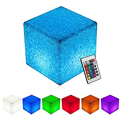 INNOKA 16-inch LED Cube Light, Waterproof & Cordless [Glow Cube] Rechargeable, RGB Color Changing Table Chair for Pool Light, Outdoor, Home, Patio, Party, Mood Lamp, Decorate - Granite