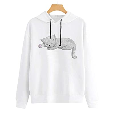 Women Sweatshirt Hoodies Kawaii Cat Print Hooded Warm Long Sleeve Pullover Jumper: Ropa y accesorios