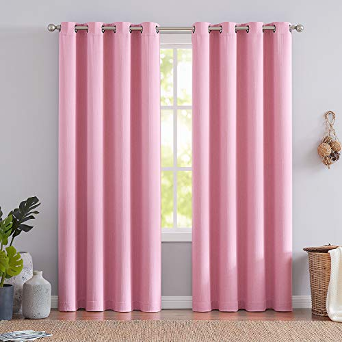 (Pink Blackout Window Curtains 95-inch Long Room Darkening Linen Stripe Texture Drapes for Girls Room Red 2 Panels)