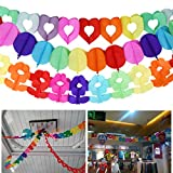 3 Style Rainbow Paper Garland, YANSHON Tissue Paper Leaf Garland, Hollow Love, Colorful Balloon, Colorful Flower, 6.7Feet