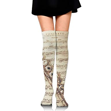 High Elasticity Girl Cotton Knee High Socks Uniform Flute Wallpaper For Laptop Women Tube Socks