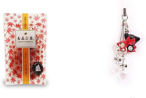 [2点セット] もみじ茶(7パック入)・さるぼぼペアビーズストラップ 【クリア】/縁結び・魔除け//