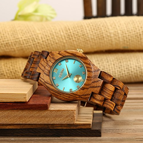 GBlife Women Wooden Watch with Turquoise Dial Lightweight Handmade Quartz Watch #GW01 (Zebrawood)
