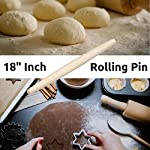 """French Wooden Rolling Pin 18"""" x 1.55"""" for Baking Pizza Pastry Dough, Pie Crust & Cookie - Kitchen Cuisine Utensil Smooth Tools Gift Ideas for Professional Bakers, Restaurants, Grandmas - MR. WOODWARE 6 ✅ MASSIVE 18"""" INCH FRENCH ROLLING PIN - Mr. Woodware offers you a professional wooden french rolling pin for rolling your pizza, pastry or pie dough and storing away. ✅ CRAFTED WITH CARE - High quality beech wood, tapered, easy-grip very smooth on touch for endless rolling. ✅ DISHWASHER SAFE - There are 2 ways of cleaning: You can let dishwasher do the job or wipe it with a clean cloth. Rinsing under the water is also good especially if dough is stuck to the pin just flour the pin lightly, then brush the flour and dough off the pin with hands and the wipe it with a towel."""
