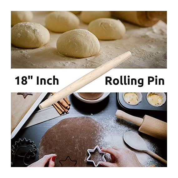 """French Wooden Rolling Pin 18"""" x 1.55"""" for Baking Pizza Pastry Dough, Pie Crust & Cookie - Kitchen Cuisine Utensil Smooth Tools Gift Ideas for Professional Bakers, Restaurants, Grandmas - MR. WOODWARE 2 ✅ MASSIVE 18"""" INCH FRENCH ROLLING PIN - Mr. Woodware offers you a professional wooden french rolling pin for rolling your pizza, pastry or pie dough and storing away. ✅ CRAFTED WITH CARE - High quality beech wood, tapered, easy-grip very smooth on touch for endless rolling. ✅ DISHWASHER SAFE - There are 2 ways of cleaning: You can let dishwasher do the job or wipe it with a clean cloth. Rinsing under the water is also good especially if dough is stuck to the pin just flour the pin lightly, then brush the flour and dough off the pin with hands and the wipe it with a towel."""
