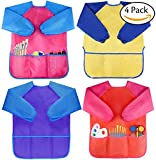 Amaza 4Pcs Kids Art Aprons, Waterproof Children's Artist Painting Smocks with Long Sleeve 3 Pockets for Age 2-8 Years (Yellow & Pink & Blue & Red)