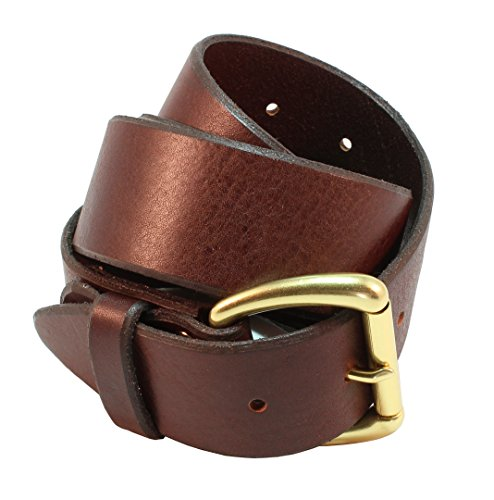 Hand Belt Buckle (Simon Men's Full Grain Hand Crafted Leather Belt 1.5 inch (38mm) Wide with Gold Solid Brass Roller Style)