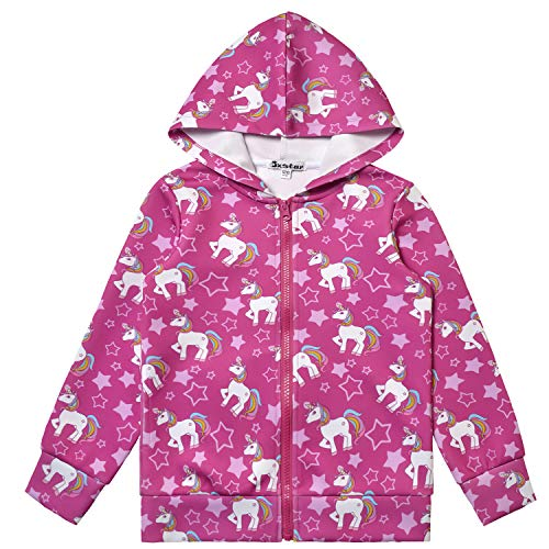 Red Hoodie for Girls Zip Up Unicorn Halloween