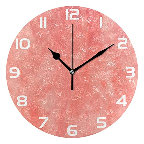 ALAZA Vintage Coral Color Round Acrylic Wall Clock, Silent Non Ticking Oil Painting Home Office School Decorative Clock Art (Coral Decor Wall Bathroom)