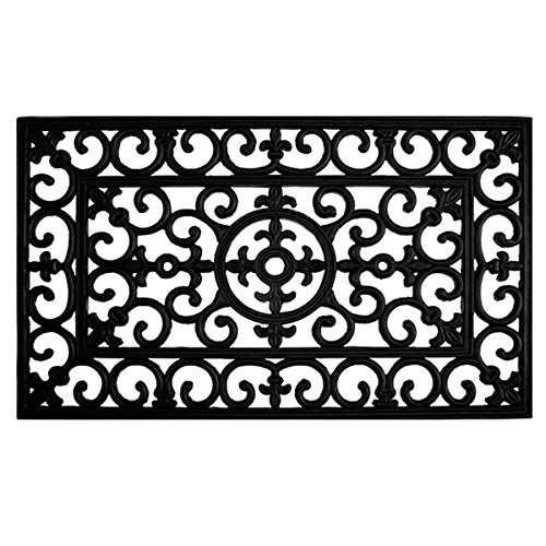 Home & More 900092436 Fleur De Lis Rubber Doormat, 2' x 3', Black (Wrought Doormat Rubber Iron)