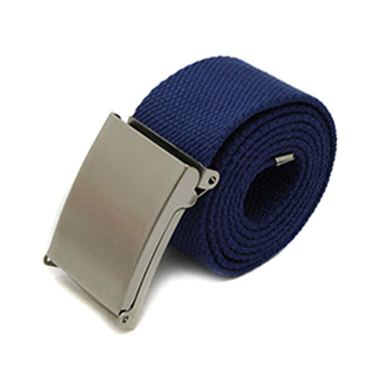 JYS365 New Candy Colors Plain Webbing Cotton Canvas Metal Buckle Belt