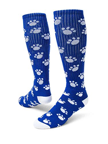 Red Lion Paws Pattern Knee High Sports Socks ( Royal Blue / White - Medium )