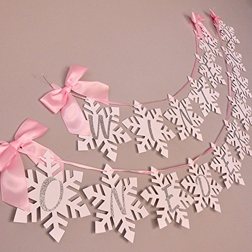 (Winter Onederland Snowflake Banner in Pink and Silver. Pink and Silver Party)