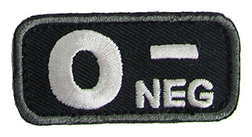Blood Type Patches - Mil-Spec Monkey BLACK (O NEG)
