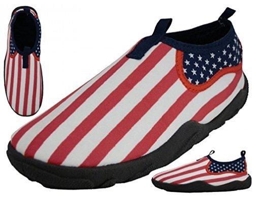 American Flag Design Water Shoes - USA style Slip-on Aqua Socks for Pool, Beach, Lake, Yoga, Exercise - MEN'S and WOMEN'S (9, MEN'S US FLAG)