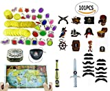 : Amersumer 101 piece Pirate Party Supplies and Pirate Favor Toy Bundle( Gold Coins,Diamond Rings, Rhinestone Rings,Tattoos, Mustaches,Pirate Telescope,Eye Patches,Pirate maps,Gold Weapons,Compass )