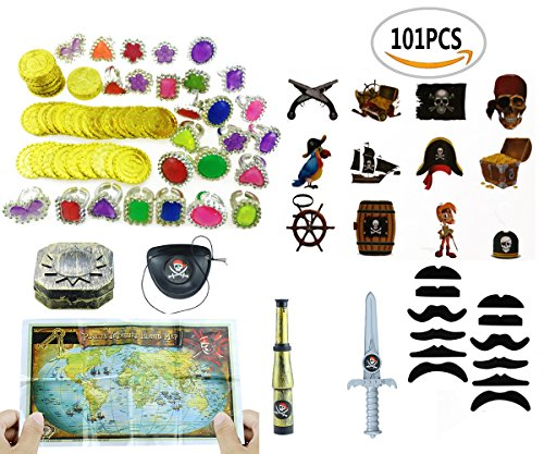 Pirates Theme Party (Amersumer 101 piece Pirate Party Supplies and Pirate Favor Toy Bundle( Gold Coins,Diamond Rings, Rhinestone Rings,Tattoos, Mustaches,Pirate Telescope,Eye Patches,Pirate maps,Gold Weapons,Compass ))